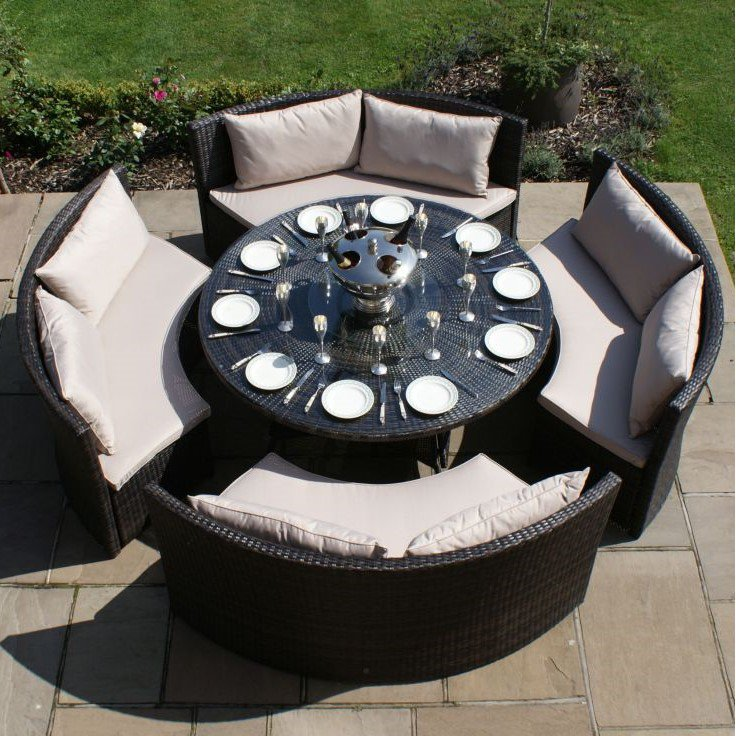 image-Maze Rattan Garden Furniture Dallas Brown Sofa Dining Set