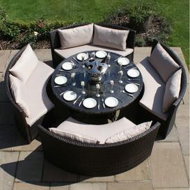 image-Maze Rattan Garden Furniture Dallas Brown Sofa Dining Set