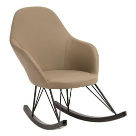 image-Giausar Faux Leather Rocking Chair In Light Grey