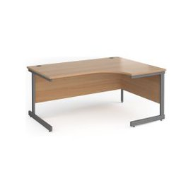 image-Value Line Classic+ Right Ergo C-Leg Desk (Graphite Leg), 160wx120/80dx73h (cm), Beech, Free Delivered & Fully Installed Delivery