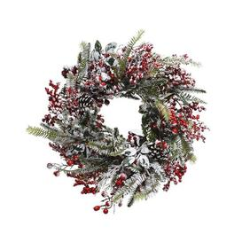 image-Frosted 40cm Realistic Christmas Wreath with Berries
