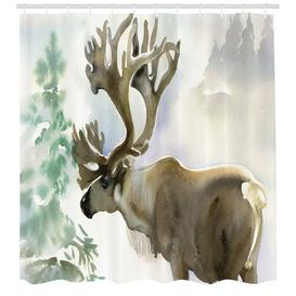 image-Deer with a Tree Shower Curtain East Urban Home Size: 240cm H x 175cm W