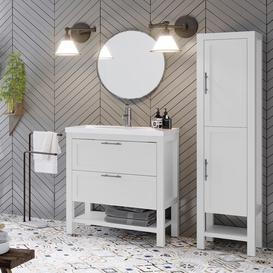 image-Gambill 810mm Free-standing Single Vanity Unit Ebern Designs Vanity Base Colour: White