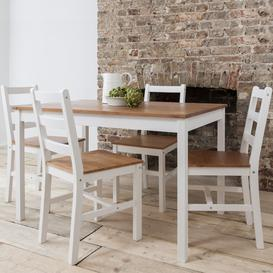 image-Annika Dining Table with 4 Chairs Natural & White