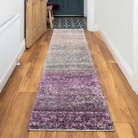 image-Rich Purple Striped Mottled Shaggy Runner Rug - Murano