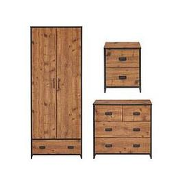 image-Jackson 3 Piece Package - Kids 2 Door, 1 Drawer Wardrobe, 2+2 Drawer Chest And 2 Drawer Bedside Chest