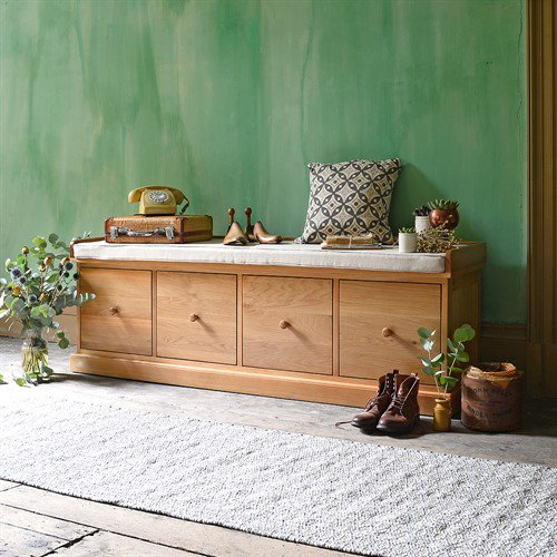 image-Appleby Oak Four Drawer Shoe Bench with Cushion