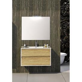 image-Dulaney Bathroom 1000mm Wall Hung Single Vanity Unit Ebern Designs Vanity Base Colour: Light Oak
