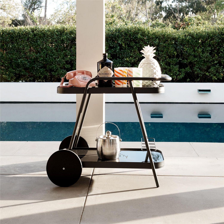 image-Cosco Outdoor Living Novogratz Poolside Collection Barbie Bar Cart in Charcoal