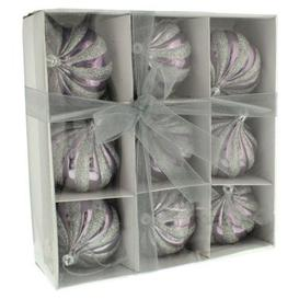 image-Festive 9 Pack (8cm) 8 Segment Ribbon Bauble Set Shiny Lilac