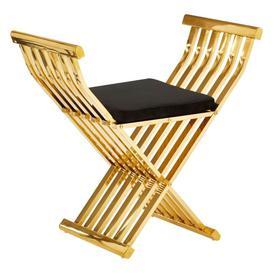 image-Annalie Black Velvet Seat Gold Cross Design Occasional Chair