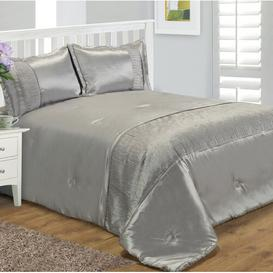 image-Holyoke Bedspread Set with 2 pillows Canora Grey Size: W240 x L260cm, Colour: Silver