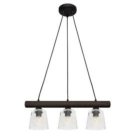 image-Wallingford 3-Light Kitchen Pendant HELAM Finish (of the fixture): Black/Wenge, Shade Colour: Clear
