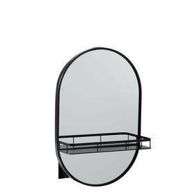 image-Mirror Oval+Plank Metal Black (41X14x61cm) Borough Wharf