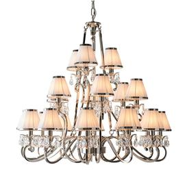 image-Interiors 1900 63516 Oksana Nickel 21 Light Ceiling Pendant Light In Nickel With White Shades