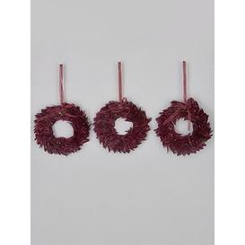 image-Mini Wreath Purple Feather Christmas Tree Decorations - Set Of 3