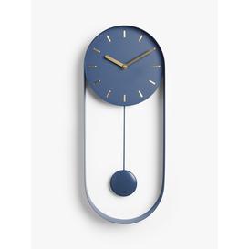 image-John Lewis & Partners Pendulum Metal Analogue Wall Clock, 50cm, Navy