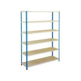 image-Rapid 2 Shelving With 6 Chipboard Shelves 1220wx1980h (Blue/Grey), Blue/Grey, Free Next Day Delivery