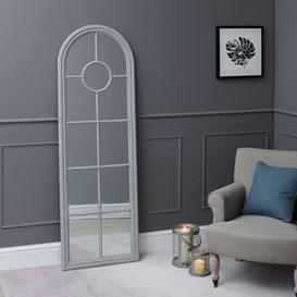 image-Fleur Narrow Arched Framed Mirror Grey
