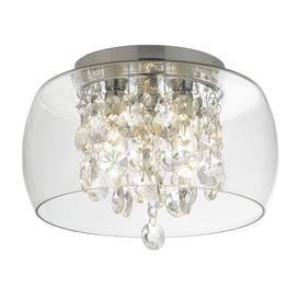image-Searchlight 1773CC Bathroom Flush Ceiling Light In Chrome With Crystal And Clear Glass