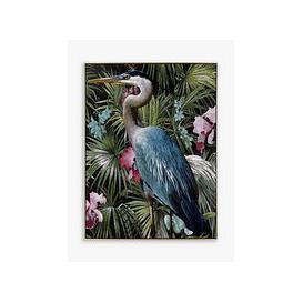 image-Steve Hunziker - Statuesque Great Blue Heron Bird Framed Canvas, 61.5 x 81.5cm, Blue/Multi