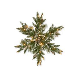 """image-Glittery Bristle Pine Pre-Lit PVC Artificial Christmas Snowflake Wreath 32"""" by National Trees"""