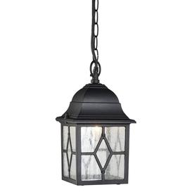 image-Traditional Black Outdoor Hanging Porch Lantern In Aluminium