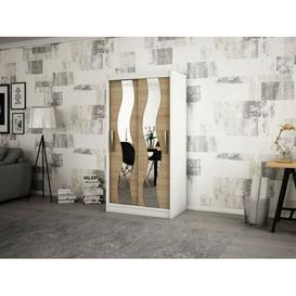 image-Margrete 2 Door Corner Wardrobe Ebern Designs Size: 200cm H x 120cm W, Finish: Matt White/Sonoma Oak