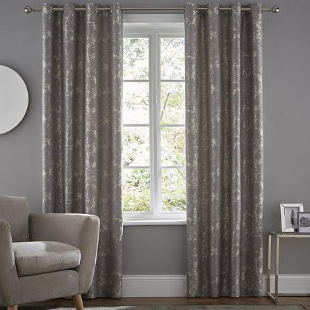 image-Homebird Grey Eyelet Curtains Grey