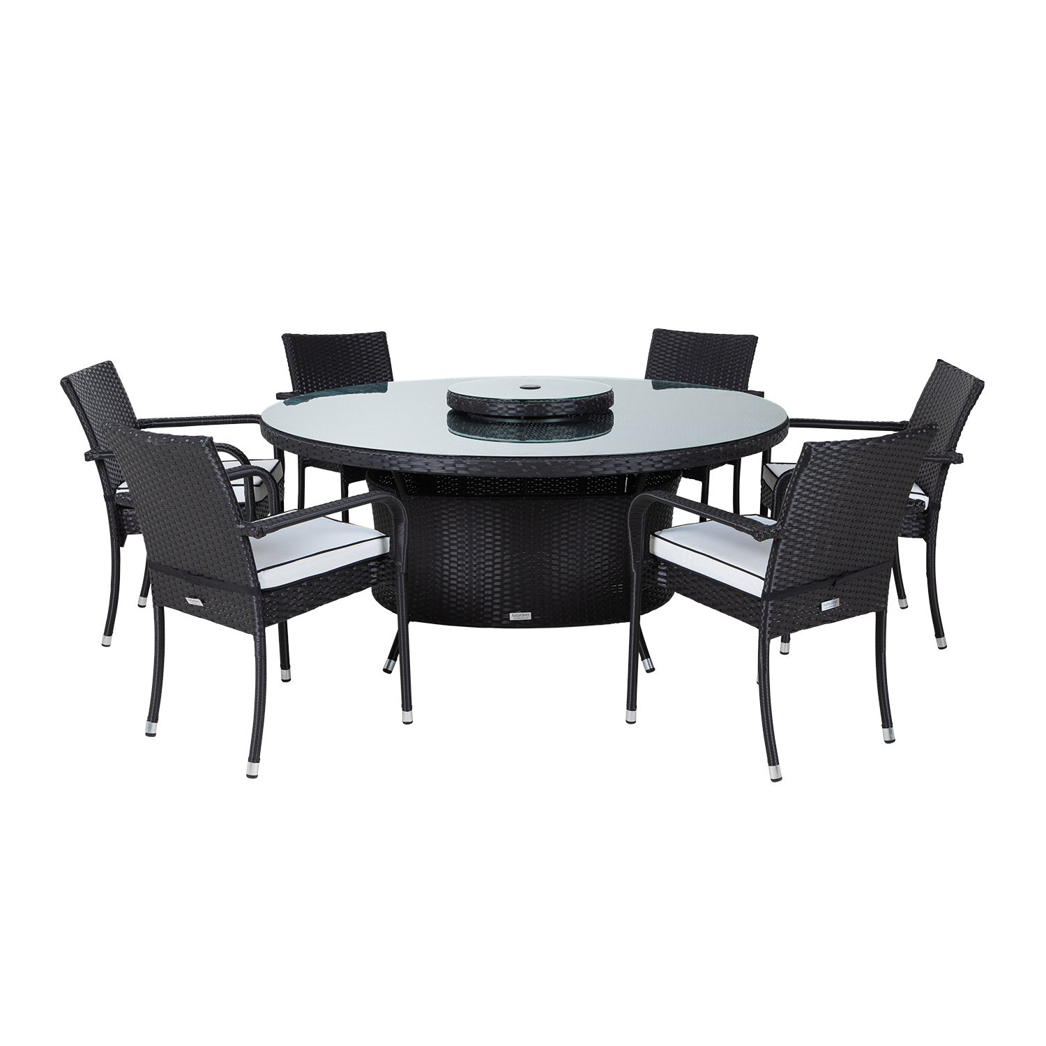 image-Roma 6 Rattan Garden Chairs, Large Round Table and Lazy Susan Set in Black and Vanilla