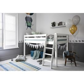 image-Cabin Bed with Ladder in White Colour: Solid White