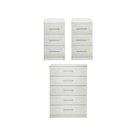 image-Frodsham Ready Assembled 3 Piece Package - 5 Drawer Chest And 2 Bedside Chests