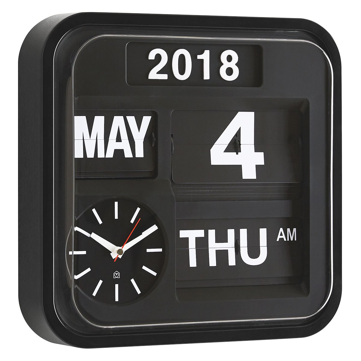 image-Flap Black Medium Analogue Year Wall Clock 32Cm, Black And White