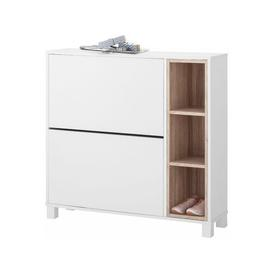 image-8 Pair Shoe Storage Cabinet Ebern Designs Finish: White/Oak