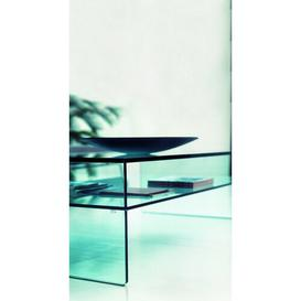 image-Coffee Table with Magazine Rack Wade Logan Size / Finish: 40 cm H x 90 cm W x 90 cm D / Clear Glass