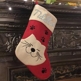 image-Cat Personalised Christmas Stocking East Urban Home Colour: Glitter Silver