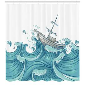 image-Ship Sketch Shower Curtain East Urban Home Size: 200cm H x 175cm W