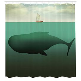 image-Whale and Ship Shower Curtain East Urban Home