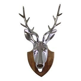 image-Silver Metal Stags Head On Wooden Mount, Wall Decor