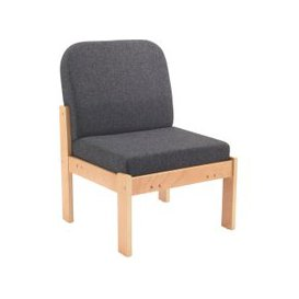 image-Nimes Wood Framed Reception Side Chair, Charcoal, Free Standard Delivery