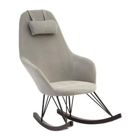 image-Giausar Fabric Upholstered Rocking Chair In Grey
