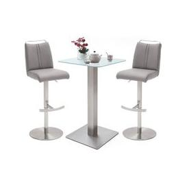 image-Soho White Glass Bar Table With 2 Giulia Ice Grey Stools