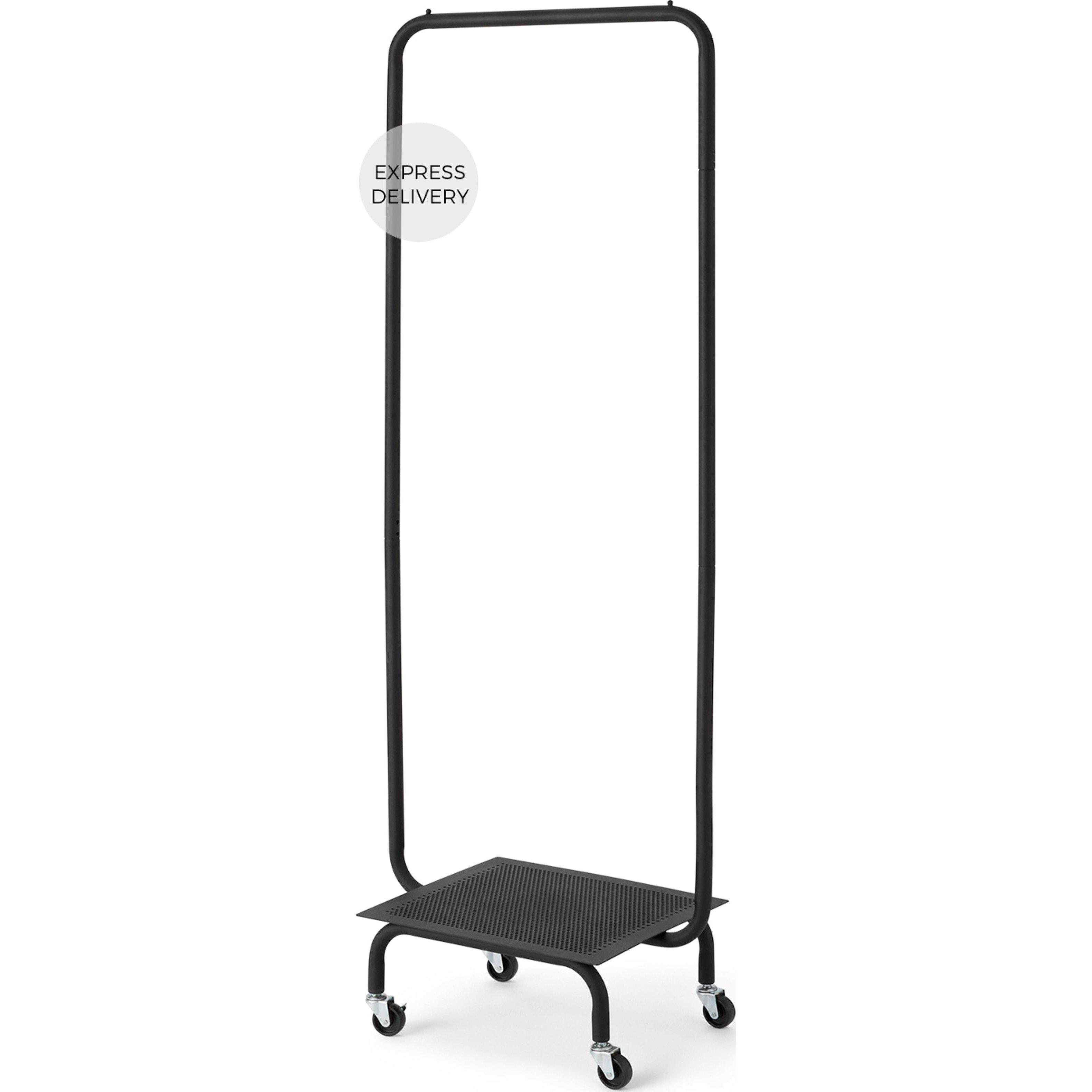 image-Kennedi Perforated Metal Garment & Storage Rack, Black