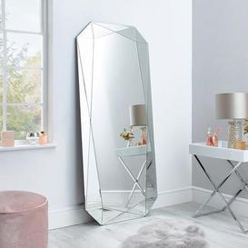 image-3D Geo Leaner Mirror 160x70cm Silver