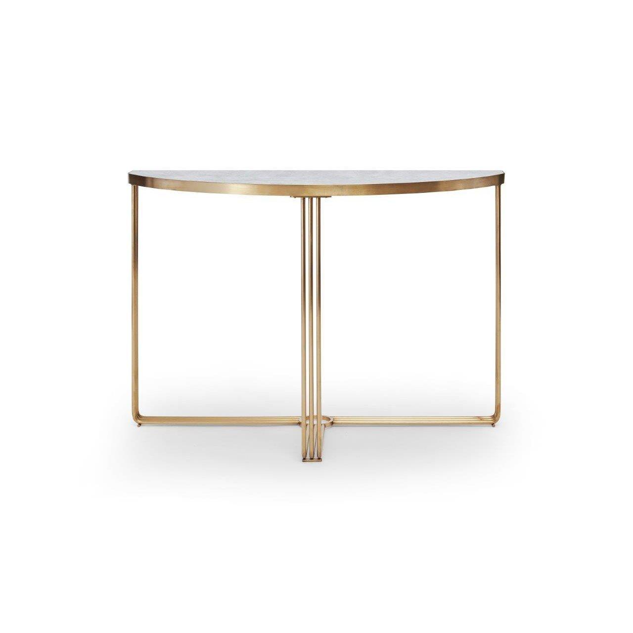 image-Finn (brass) Demi Lune console table - Pale stone