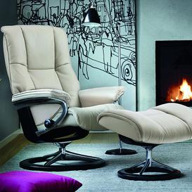 image-Stressless Mayfair Recliner with Signature Base Footstool Large Chair Noblesse Leather