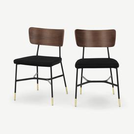 image-Amalyn Set of 2 Dining Chairs, Deep Black Velvet & Walnut
