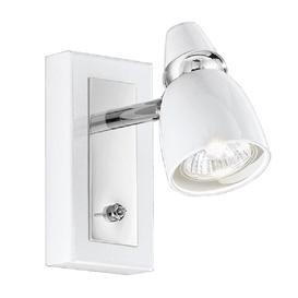 image-SP8931 1 Light Chrome and White Switched Wall Spotlight