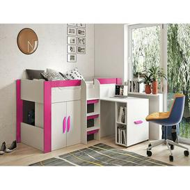 image-Esparza European Single Mid Sleeper Bed with Bookcase Isabelle & Max Colour (Bed Frame): Pink