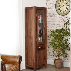 image-Mayan Walnut Furniture Narrow Glazed Bookcase- PRE ORDER